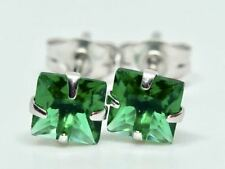 REAL 9K SOLID WHITE GOLD PRINCESS CUT EMERALD EARRINGS!