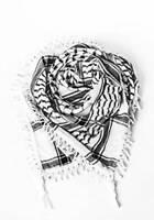 Black White Shemagh Arab Scarf keffiyeh Army 100% Cotton Palestine Palestinian