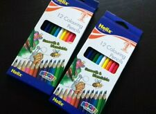 2x Helix 7 Inch (18cm) Childrens Colouring Pencils - Pack of 12 Assorted Colours