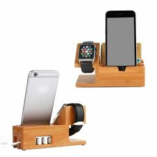 Bamboo Charging Stand Charger Station Dock Holder w/ 3 USB Hub Port Cable