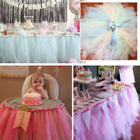 AU_ Tulle Table Skirt Cover Birthday Wedding Party Decor Table Cloth Supplies
