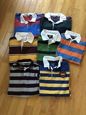 Lot of 7 Striped Preppy L/S Casual Polo Rugby Shirts - Men's L Old Navy Lauren
