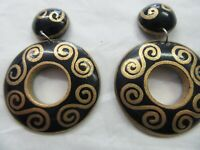 Vintage Wooden Circle Earrings. Black with Gold Paint. Crafters.