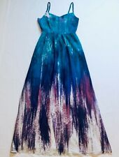 bac2996c336 ModCloth Brushstroke To Conclusions Maxi Dress Pockets Teal Purple White  Size S