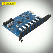 ORICO 7-Ports USB 3.0 PCI Express Expansion Card Adapter 15Pin SATA Power Supply