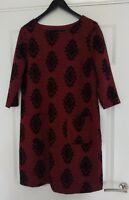 White Stuff Red Cotton Blend Jumper Dress Long Sleeves UK Size 16