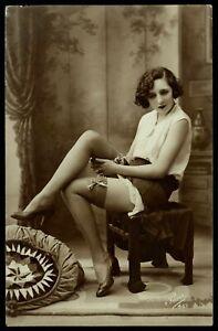 Original 1910 French Postcard Photo Nude Girl Lingerie Stockings Long Legs