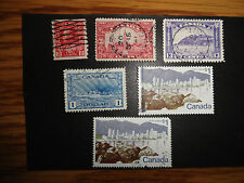 CANADA USED  -  6 STAMPS  - SCOTT # 127 143 201 262 599 & 599a - VG TO  EC