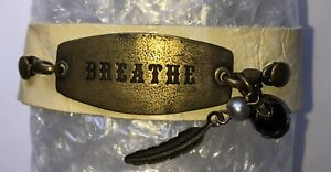 """Lenny and Eva leather and metal Sentiment bracelet """"Breathe"""" with charms"""