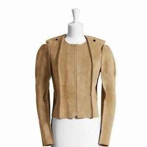 MAISON MARTIN MARGIELA H&M Beige Suede Leather Jacket Size 2