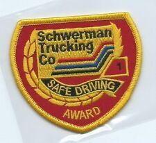Schwerman Trucking Co  1 safe driving award truck driver patch 3 X 3-3/8 #1272