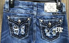 """Miss Me Jeans Mid Rise Easy Boot Distressed Flap Pockets. Women's Size 25X32.5""""."""