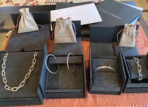 David Yurman Lot Madison Necklace 2 Bracelet Diamond Cable Hoop Earrings Box