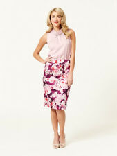 Review Bellini Floral Print Pencil Skirt Size 10 Pink Purple Work Evening