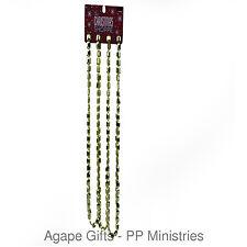 HL Christmas Decor - Plastic Bead String Garland Gold Square Jeweled Design 2pks