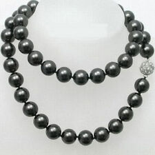 Natural 10mm Black Shell Pearl 18KWGP Crystal Ball Clasp Necklace 36'' JN1737