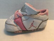 Nike Air Jordan 1st Crib (CB) Baby Girl Shoes Size 2C White with Pink Trim Soft