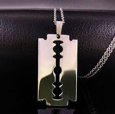 Halskette collier Edelstahl Rasierklinge Messer Anhänger razor blade necklace