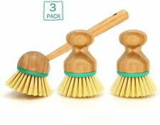 Set of 3 Pieces Bamboo Scrub Brush Dish Scrubber Household Cleaning Sink, Pan US