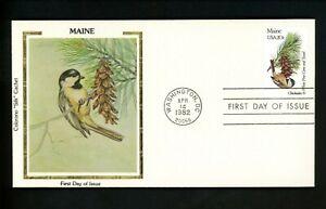US FDC #1971 Colorano 1982 Birds and Flowers Maine ME Chickadee White Pine Cone