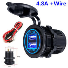 DC 12V Car Dual USB Charger Power Adapter Outlet 2 X 2.4A LED INDICATOR DISPLAY