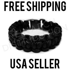 Paracord Bracelet Black (Survival, Military, Tactical) Custom Size