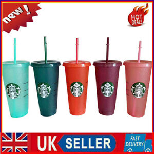 UK Starbucks Logo Reusable Plastic Colour Changing Cup with Lid Straw ,24 fl oz
