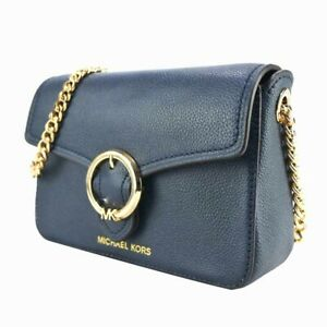MICHAEL KORS WANDA SMALL CHAIN CROSSBODY SHOULDER BAG LEATHER NAVY BLUE $298