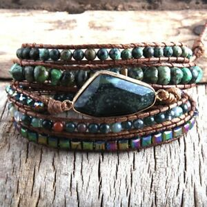 Handmade Natural Stone African Turquoise & Green Agate Beaded Wrap Bracelet Cuff