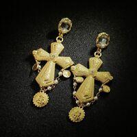 Earrings Golden Huge Chandelier Cross Metal Chiseled Retro Baroque XX29