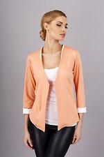 Elegance Women's Open Front Cuff Jacket Blazer Long Sleeve Size 8-12 FA235