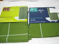 New ROOM ESSENTIALS Fabric SHOWER CURTAIN FOREST Light ~ GREEN Windowpane NEW