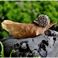Miniature Garden Hedgehog on a Brown Leaf  Fairy Faerie GO 16664