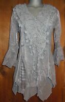 new PRETTY ANGEL SHIRT blouse TUNIC vintage gypsy RUFFLES LACE 1X 2X 3X  gray