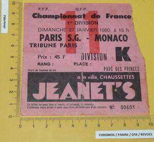 FOOTBALL BILLET 27-01 1980 FRANCE PARC PRINCES PARIS SAINT-GERMAIN PSG AS MONACO