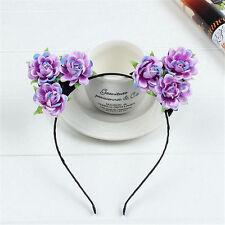 Women Cat Ears Headband Hair Fancy Dress Cosplay Party Purple Flower Hair Hoop