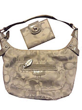 Coach grey gray signature Penelope hobo bag & turn lock medium wallet set