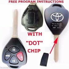 "TOYOTA LOGO OEM 4 BUTTON REMOTE NEW UNCUT KEY ""DOT"" CHIP VIRGIN BLADE HYQ12BBY"