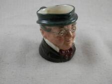 "Antique Miniature Royal Doulton Old Man pitcher Green Hat & Glasses 2.5"""