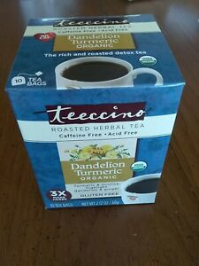 Teeccino Organic Herbal Tea - Dandelion Turmeric - Case of 6 boxes x 10 tea bags