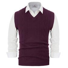 Men's Basic V-Neck Knitted Sweater Vest Waistcoat Pullover Sweatshirt Vests Coat