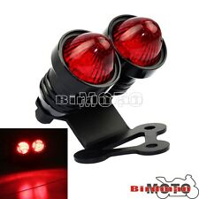 Retro Black 12V Twin Dual LED Tail Light Lamp Pedestal Bracket For Cafe Racer