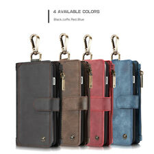 Leather Flip Cover for iPhone Samsung Zip Wallet Removable Protective Cover Case