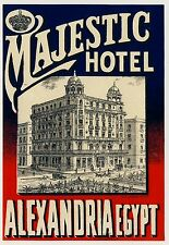 Majestic Hotel AEXANDRIA Egypt North Africa * Old Luggage Label Kofferaufkleber