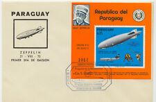 PARAGUAY 1975 21. Aug. Block Erste Fahrt eines Zeppelins nach Amerika FDC