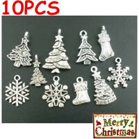 10 Pcs Gift Mixed Silver Tone Christmas Motif Charms Pendants Decoration