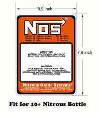 New Work For NOS 10 LB. Nitrous Bottle Label Sticker 10#