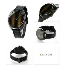NEW-NIXON THE WIT BROWN TONE,BLACK LEATHER BAND,TIGERS EYE DIAL WATCH A3181073