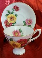 Vintage Staffordshire English Castle Fine Bone China Teacup and Saucer Floral