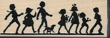 HERO ARTS rubber stamp IT'S A PARADE wood mounted Children Silhouettes